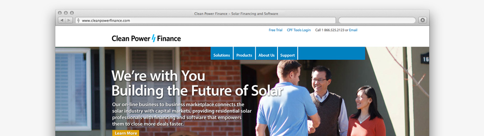 screenshot of Clean Power Finance (CPF) home page
