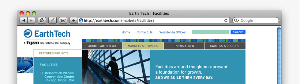 screenshot of Earth Tech home page